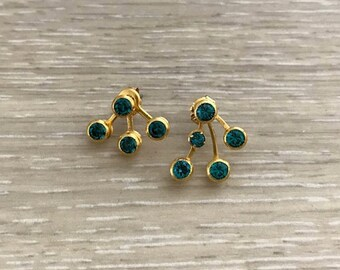 Ear Jackets, Rhinestone Earrings, Gold Earrings, Studs, Bridal Earring, Indicolite