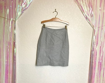 Vintage 80s Soft Gray Leather High Waisted Pencil Mini Skirt