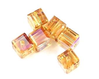 Light Colorado Topaz AB 5601 Swarovski Elements Crystal Cube Bead (4mm, 6mm, 8mm)