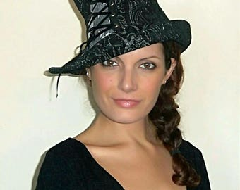 Top Hat,Black,Corset,Steampunk,Mad Hatter,Halloween,Burlesque,Vaudeville,Victorian,Circus,Gothic,Cabaret,Costume,Magician,Fantasy.Fafastyle