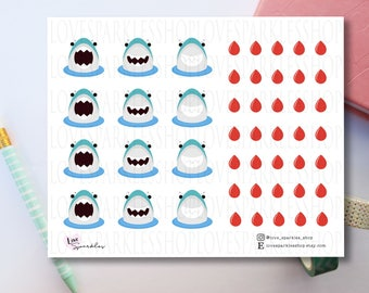 Shark Week | Period Tracker | Stickers | Planner Sticker | Functional | Scrapbooking | Matte | Kawaii