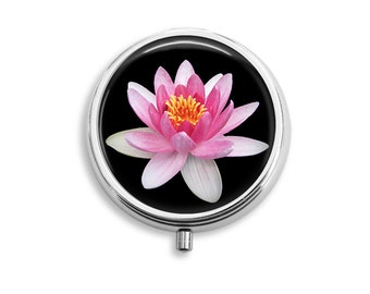 Pink Waterlily Flower Pill Box, Pill Case, Pill Container, Mints Case, Trinkets Box, Jewelry Box ( P014)