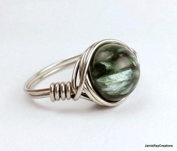 Seraphinite Ring Silber Draht wickeln schimmernde grüne