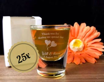 25x Personalised Engraved Shot Glasses 30ml - Wedding Design