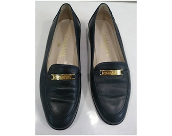 Chanel Blue Leather Loafers Sz 7.5 With Dust Bag