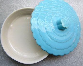 Baby Blue Covered Dish, Scalloped Lid, Mid Century Serving Dish, Turquoise Dish