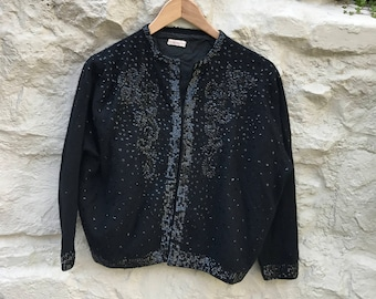 Vintage 50's black beaded cardigan lined