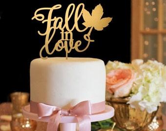 Fall in Love Cake Topper - Fall Wedding Cake Topper - Gold Cake Topper