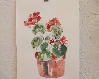 Gorgeous Bright Watercolor Geraniums