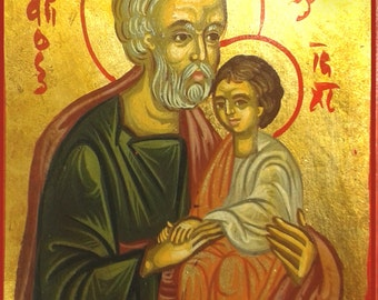 Saint Joseph,catholic icon, hand painted icon,greek icon,11x14