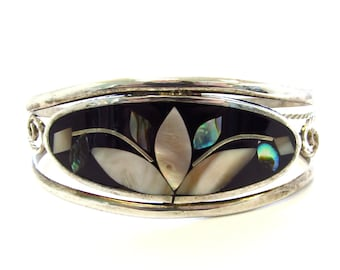 Vintage Alpaca Silver Oval Lily Flower Shell Inlay Cuff Bracelet
