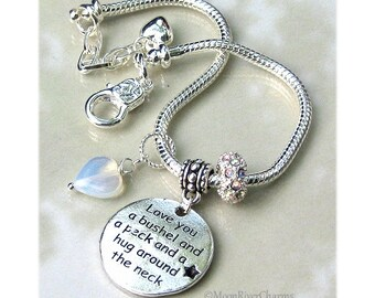 I Love You A Bushel And A Peck And A Hug Around The Neck Charm Bracelet Moonstone Heart Dangle Charm Personalized Birthstone Crystal CBR1056