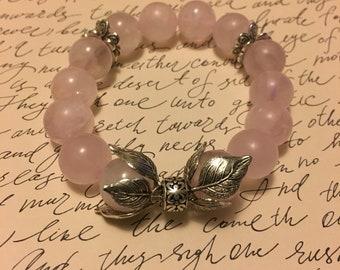 Antique Silver Rose Quartz Floral Bracelet