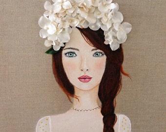 Girl Portrait White Flowers Acrylic Painting Cottage Chic Decor Romantic Art Beautiful Girl Fine Art Print
