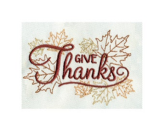 Give Thanks - Thanksgiving Fall Embroidery Design - Instant Digital Download
