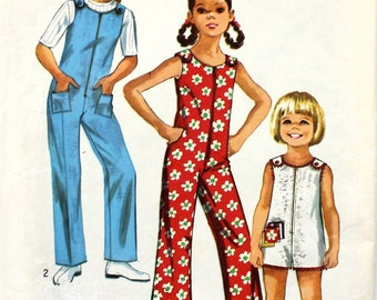 Girl's Jiffy Jumpsuit Size 7 Simplicity 8768 Vintage Sewing Pattern