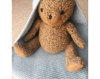 Hooded Alpaca Blend Hand Knitted Baby Blanket