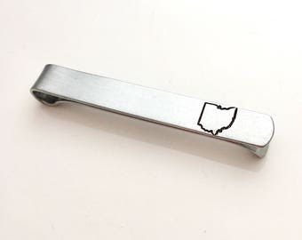Ohio Tie Bar - Home State Tie Bar - Short Tie Clip - Hand Stamped Tie Clip - Ohio Tie Clip - Gift for Him - Graduation Gift - All 50 States