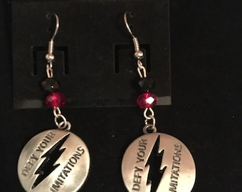Silver and Red Flash Earrings
