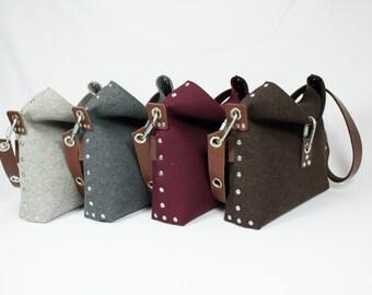 Felt Handbag with fold over top, Cross Body Bag, Womans Purse, Felt Clutch bag, Womans Handbag, Gift for her.