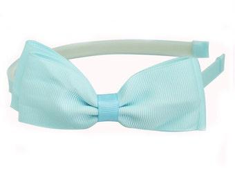 Light Blue headband, Bow Headband, Girls Headband, Large Blue Bow, teens headband