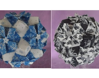 Snowflake Blue or Midnight Blue Holly Kusudama Flower Ball Ornament Decoration Paper & Beads