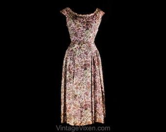 Size 8 Minx Modes Dress - 1950s Dappled Pink & Gray Daisy Floral Taffeta Full Skirted Frock - 50s Spring Summer Dress - Waist 27 - 50742