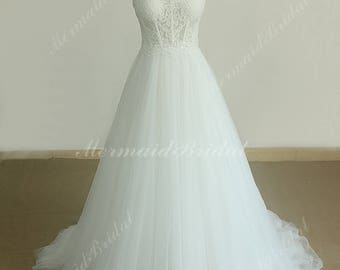 Elegant Strapless Flowy A line See Througha Tulle Lace Wedding Dress with Sweetheart neckline, Lace Wedding dress