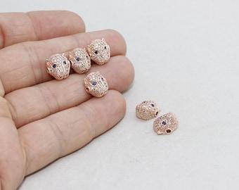 1 Pcs Micro Pave Leopard Beads, Cat Beads, Cubic Zirconia Leopard , Leopard Head Bads, Bracelet Connectors , Cz Pave Leopard, zrcn208