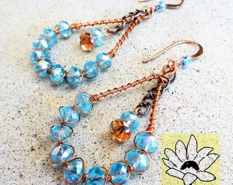 Blue Crystal Copper Teardrop Earrings Wire-wrapped Handmade Dangle Earrings By Distinctly Daisy