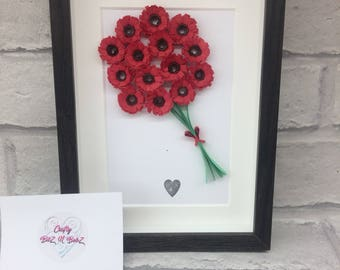 Red quilled flower bouquet in a 5 x7 inch box frame. Perfect gift for Mother's Day to be cherished forever