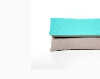 Fold Over Clutch, Foldover Clutch, Turquoise Blue and Grey Evening Clutch, Folded Handbag
