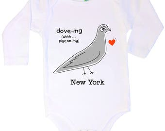 Cotton long sleeve baby one piece with screen printed pigeon design by Bugged Out, made in the USA