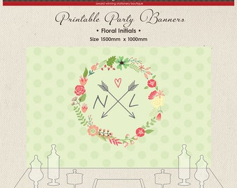 DIGITAL Printable Party Banner Buffet Candy Dessert Table Girl Floral Initial Green Dots Flower chain