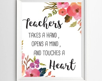 Teacher appreciation printable gift for teacher inspirational quote Teacher quote print classroom wall decor poster thank you gift