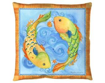 """Pisces Fish Pillow : 18x18"""" indoor outdoor throw pillow"""