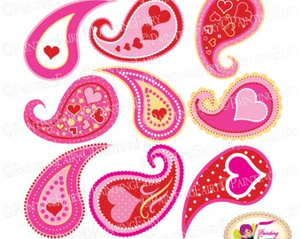 Valentine's Day Clip Art Set Pink Red hearts Lovely paisley design Cliparts love elements Valentine Clipart Paisleys polka dots pf00079