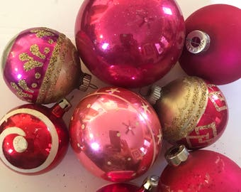 Shiny Brite Ornaments, Made in USA, Vintage Ornaments, Shiny Brites, Pink Ornaments, Christmas Tree Ornaments