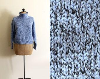 vintage sweater 1980's cropped womens clothing marled cornflower blue black turtleneck size large l