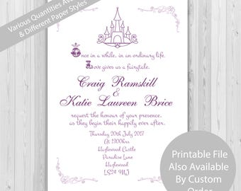 Fairytale wedding invitations - 25-300 pack size available, fairytale invitaitons, prince and princess wedding, lesbian wedding invite.
