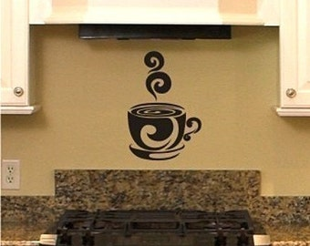 Coffee Cup Wall Decal Art - Vinyl Wall Decals Stickers Art Custom Home Decor