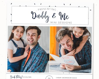 Daddy and me mini session template, Father's day marketing photography template, Photoshop template, Daddy and me fathers day card