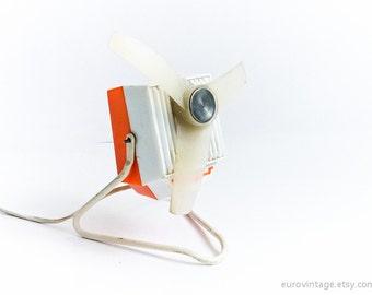 Vintage Small Electric Desk Fan Table Fan Orange Desk Fan 60s