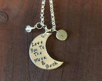 Love You To The Moon And Back Necklace- Hand Stamped Moon- Moon Necklace- Moon Jewelry- Aluminum Jewelry- Aluminum Necklace- Initial Jewelry