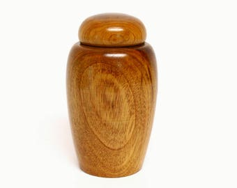 Turned Wooden Jar with Rounded Lid
