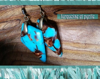 Earrings, pyrite and turquoise. Stunning.