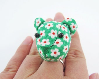 MADE-TO-ORDER ( 1 - 2 Weeks) - Bear Adjustable Ring-Retro Floral on Green