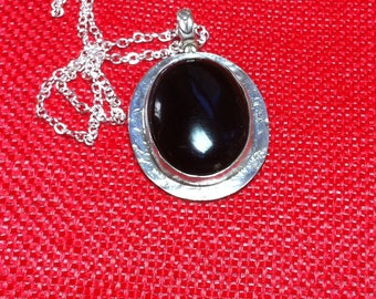 "17, Black Onyx Pendant, Silver pendant, 24"" Necklace"