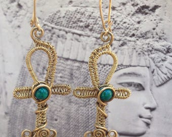 Egyptian ankh earrings, wire wrapped egyptian earrings, brass and chrysocolla, pagan egyptian jewelry, brass ankh jewelry wire weaved ankh