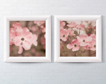 Floral Photography - Dogwood Wall Art Print Set of 2 - Pink and Brown Home Decor - Pink Flower - Nature Photo - Soft Pastel Baby Nursery Art